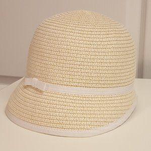Gymboree Cloche Straw Sun Hat White Bow NWOT
